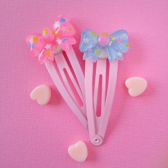 Two Cute Pink And Blue Bow Hair Clips Hair Clip Cute Kawaii Hair Clips Kawaii Fairy Kei Hair Clips Kawaii Hair Clips Kawaii Hair Accessories Kawaii Hairstyles