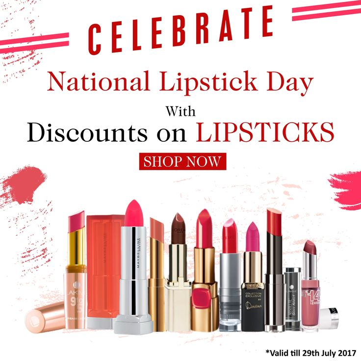 Celebrate National Lipstick Day, With Discounts on LIPSTICKS. Shop Now only from E Mega Mart India and get exciting offers and discounts on your order... Hurry Up and grab your favorite LIPSTICK.  Click Here:  #makeup #beauty #lips #fashion #beautiful #glitter #cosmetics #lakme #loreal #maybelline #lipgloss #matte #shades #red #pink #color #delicaterose #lipsticklove #dailydeals #offers #emegamartindia #emegamart