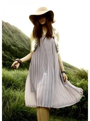 Chiffon Elasted Waistband Maxi Pleated Skirt