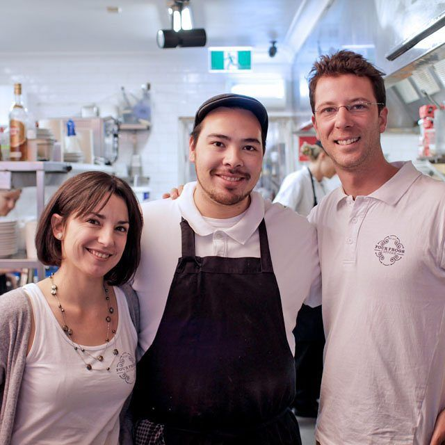 On the left we have Paloma, the amazing, hard-working manager of Four Frogs Creperie Randwick. In the middle is Stephane, our very talented head chef. And, on the right, one of the founders of Four Frogs Creperie, Florian. Don't hesitate to say Bonjour next time you visit!