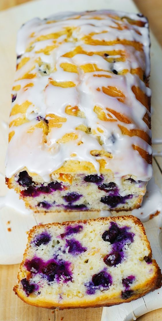 Blueberry vanilla bread with lemon glaze | Posted By: DebbieNet.com