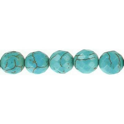 Semi-precious faceted beads, 8mm, turquoise, stabilized, 16 inch strand