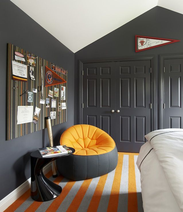 Kids Rooms Climbing Walls And Contemporary Schemes: Vaulted Ceiling, Charcoal