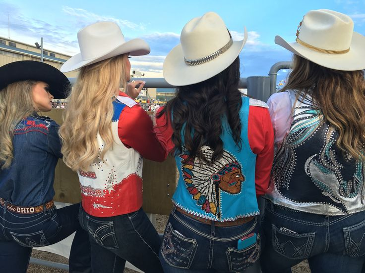 Rodeo queen attire. Left to right: 2016 Miss Rodeo Ohio Carly Kidner, 2016 Miss Rodeo Oklahoma Sydney Spencer, 2016 Miss Rodeo New Mexico Stsci Trehern, and 2016 Miss Rodeo Utah Cassidy Black.