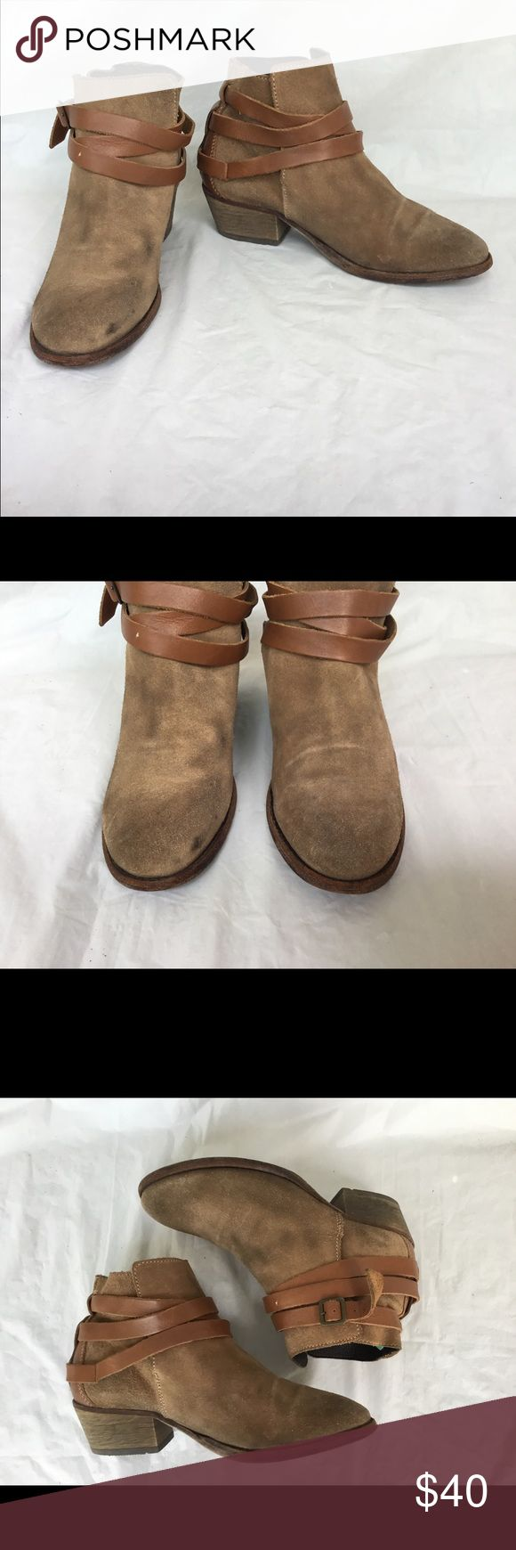 H by Hudson Horrigsn suede ankle boot 38 Tan suede boot in with wear noted . Leather wrap around trim and side zipper H By Hudson Shoes Ankle Boots & Booties
