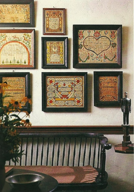Love these cross stitch samplers!  I want to make a sampler wall so bad!  I better get stitching!