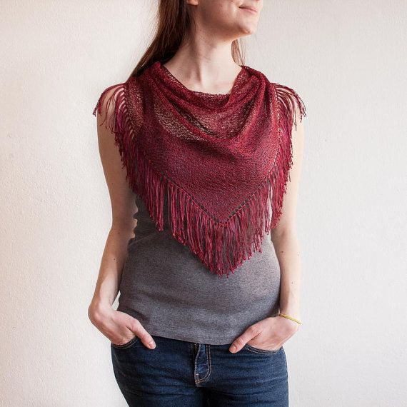 Red Wine Hand Knitted Triangle Scarf / Dark Red by RUKAMIshop