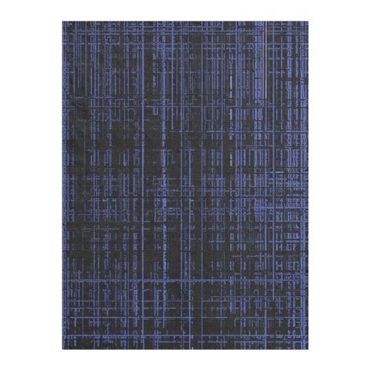 Line Art - blue matrix black canvas fabric pattern Fleece Blanket