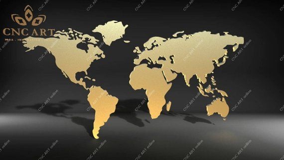 Nice World Map Wall Decoration Vector Model Dxf And Eps