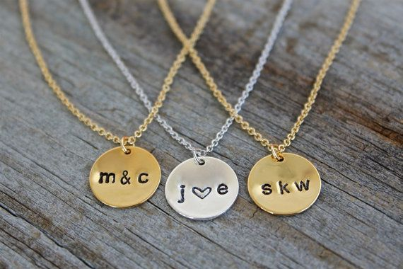 Personalized Gold Disc Necklace Dainty 14K Gold by JewelryVV