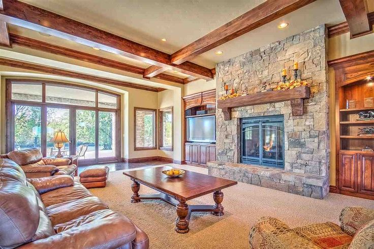 Craftsman Living Room With Stone Fireplace Built In