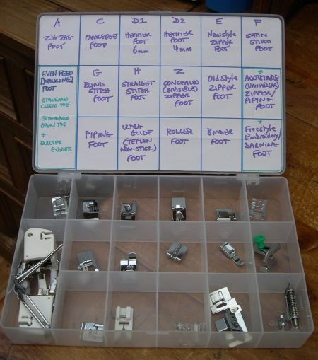 Sewing Machine Feet Storage DIY @ sew-whats-new.com. I'm always looking at my book to see what presser foot to use. This will save tine and keep the feet in one place. Great idea!