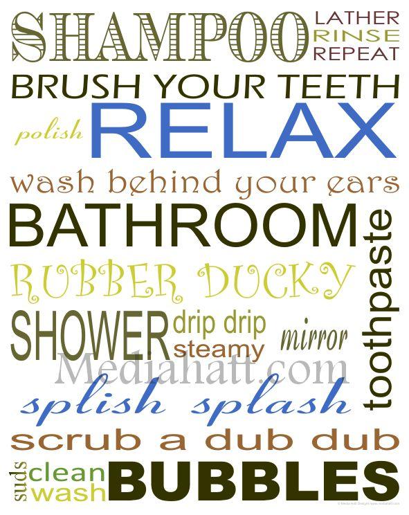 Printable Bathroom Art | free BATHROOM subway art printable | just b.CAUSE