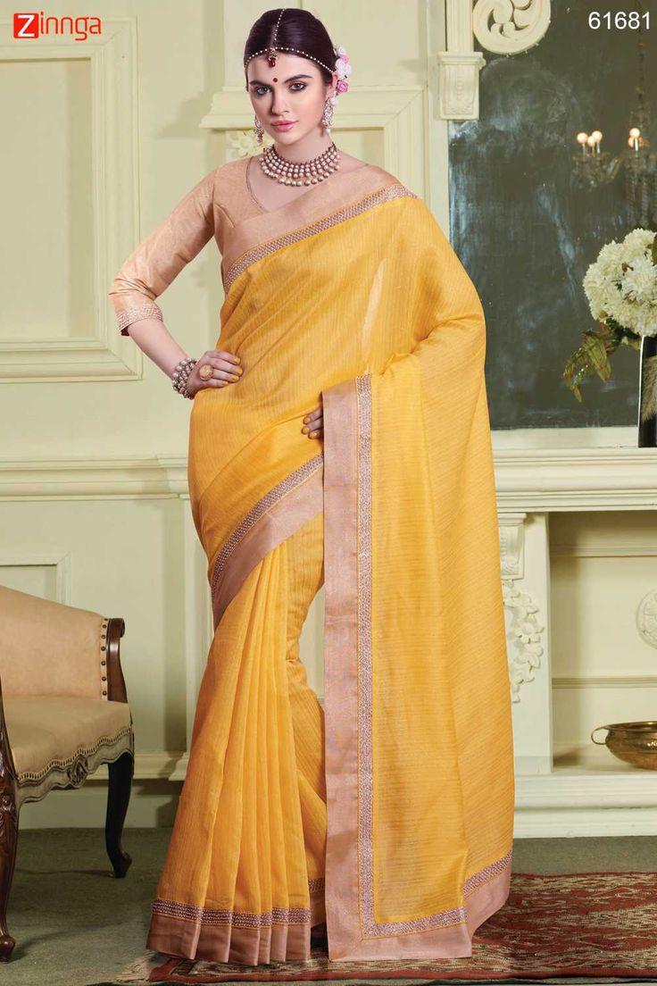 Butter Scotch Color Saree With Cute Plain Pallu. For Details Click www.zinnga.com