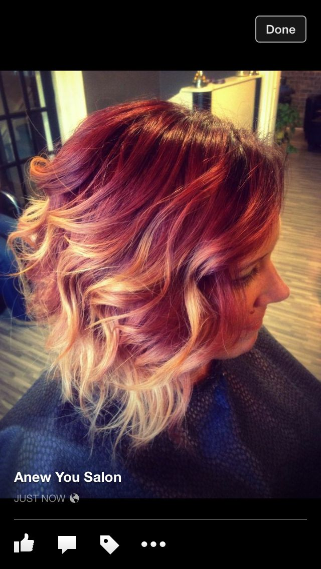 Red Rose gold Ombre - loving this rose gold trend very cool!