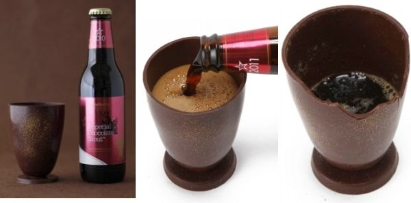 Chocolate beer served in edible chocolate glass is perfect gift this Valentine's Day
