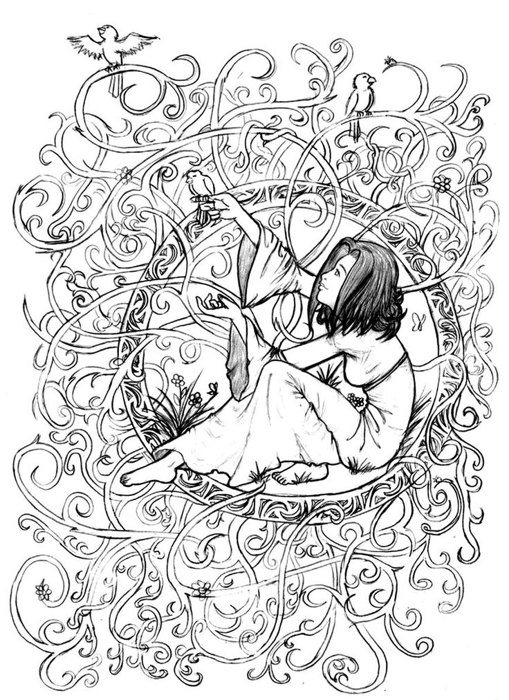 Free coloring page «coloring-adult-zen-anti-stress-to-print-princess-in-leaves-and-branches».