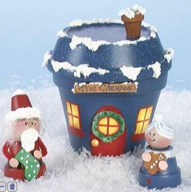 DIY Clay Pot Mr.& Mrs. Claus & house...fill with candies..cute neighbor/teacher gift!