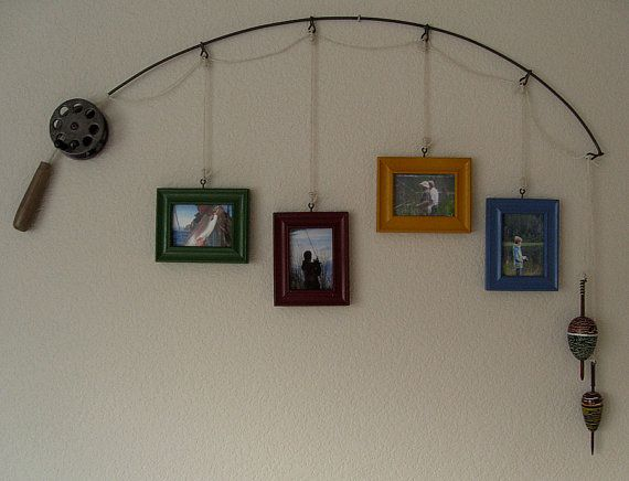 Fishing Pole Frames  The reminds me of my Grandpa, would be a cool way to remember him an encourage me to make the same memories with my own children.