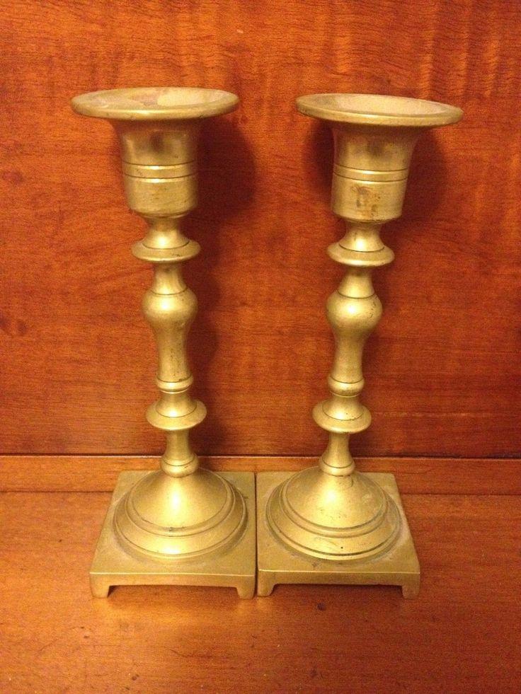 Brass Polish 19th Century Antique Sabbath Candlesticks