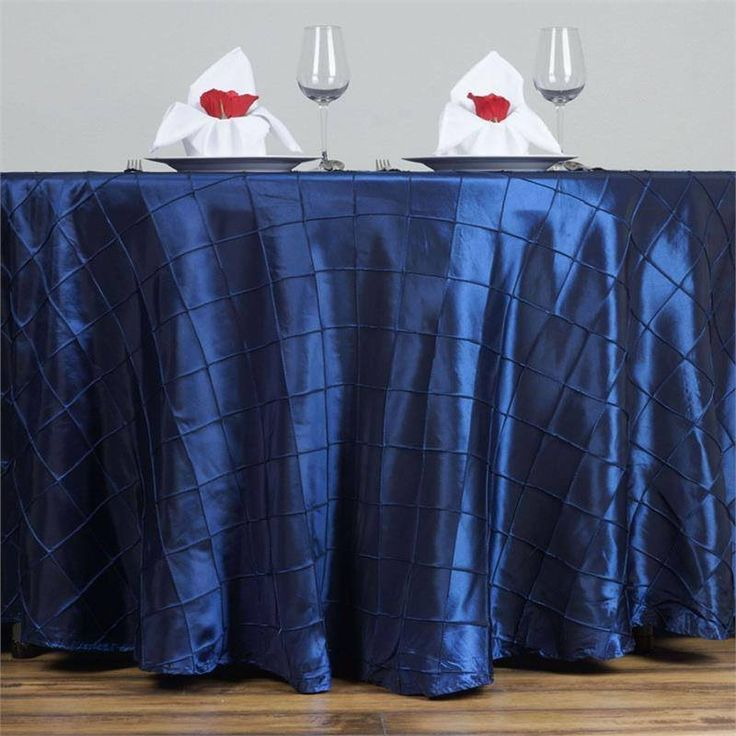 """Navy Blue Pintuck Tablecloths 120"""" Round - Pintuck is actually a fold of fabric that is stitched intricately to hold it in a place, very much like a pleat. These lovely pleats impart a decorative effect to the fabric by fashioning a visual line at a chosen point. They effortlessly bridge vintage and contemporary styles to create a majestic new classic look. If you do not want your celebration to blend in with other weddings, birthdays, and anniversaries, try our premium quality pintuck…"""