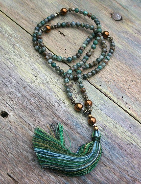 Mala-Halskette aus 108, 6 mm Azurit Edelsteine und Hämatit. 85 cm