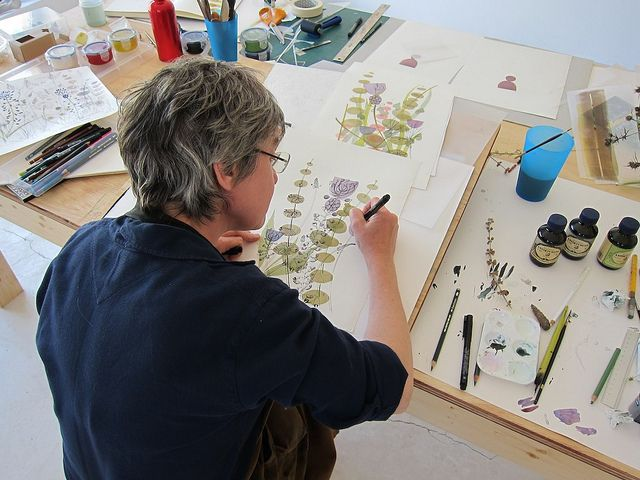 Angie Lewin working as artist in residence at Cortijada Los Gasquez in Andalucia