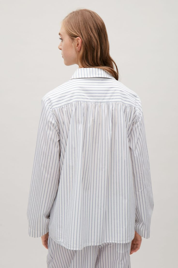 COS image 3 of Striped pyjama shirt in White