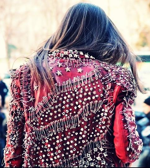 #Studded leather jacket from Balmain, inspired by the 70/80s #Punk look