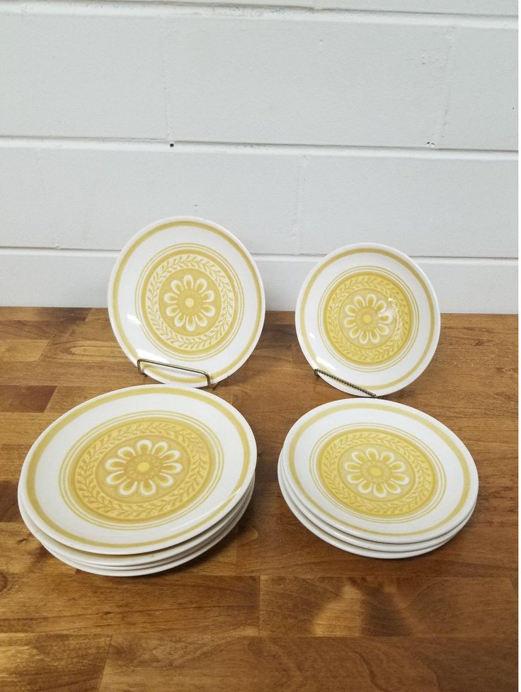 Vintage Dinnerware China Casablanca Cavalier Salad Plates Retro Yellow Ironstone by TakeFiveVintage on Etsy