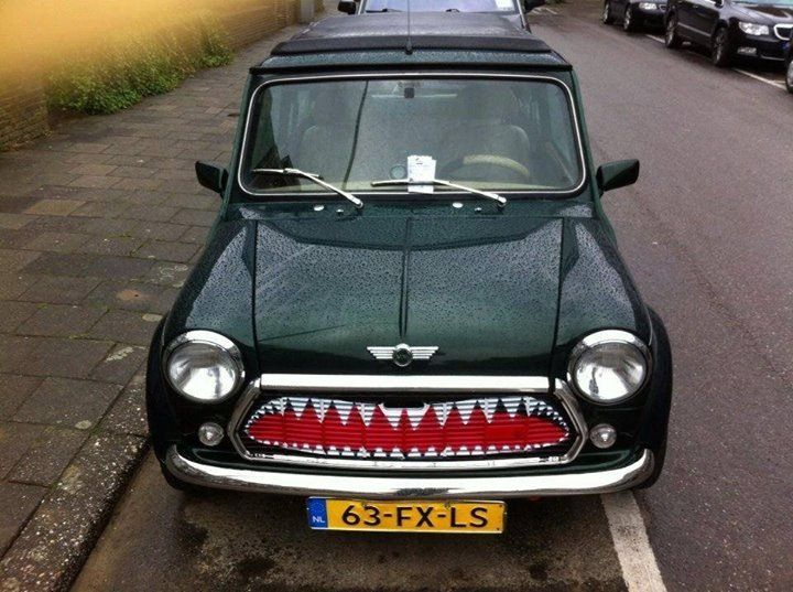 Monsterous classic Mini Cooper grille! Could do this with my spare grille... :D