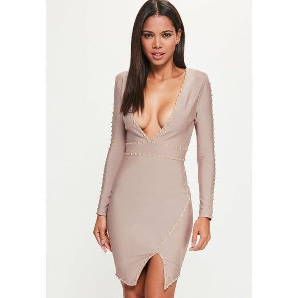 Missguided Purple Bandage Long Sleeve Plunge Stud Detail Bodycon Dress ($35) ❤ liked on Polyvore featuring dresses, purple, bodycon dresses, short bodycon dresses, body con dress, purple bandage dress and long sleeve dress