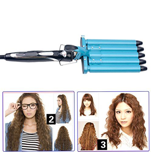 inkint Profession Ceramic Curling Wand Deep Wave Hair Curling Iron Hair Barrels Curler Hairstyle Styling Tool-3 Temperature Choices for Soft or Harden Hair
