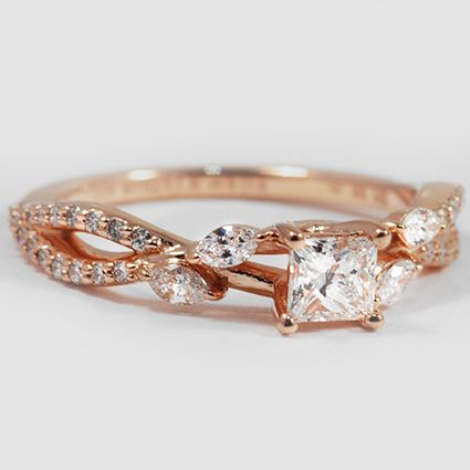 14K Rose Gold Luxe Willow Diamond Ring // Set a with 0.32 Carat, Princess, Very Good Cut, G Color, VVS1 Clarity Diamond #BrilliantEarth