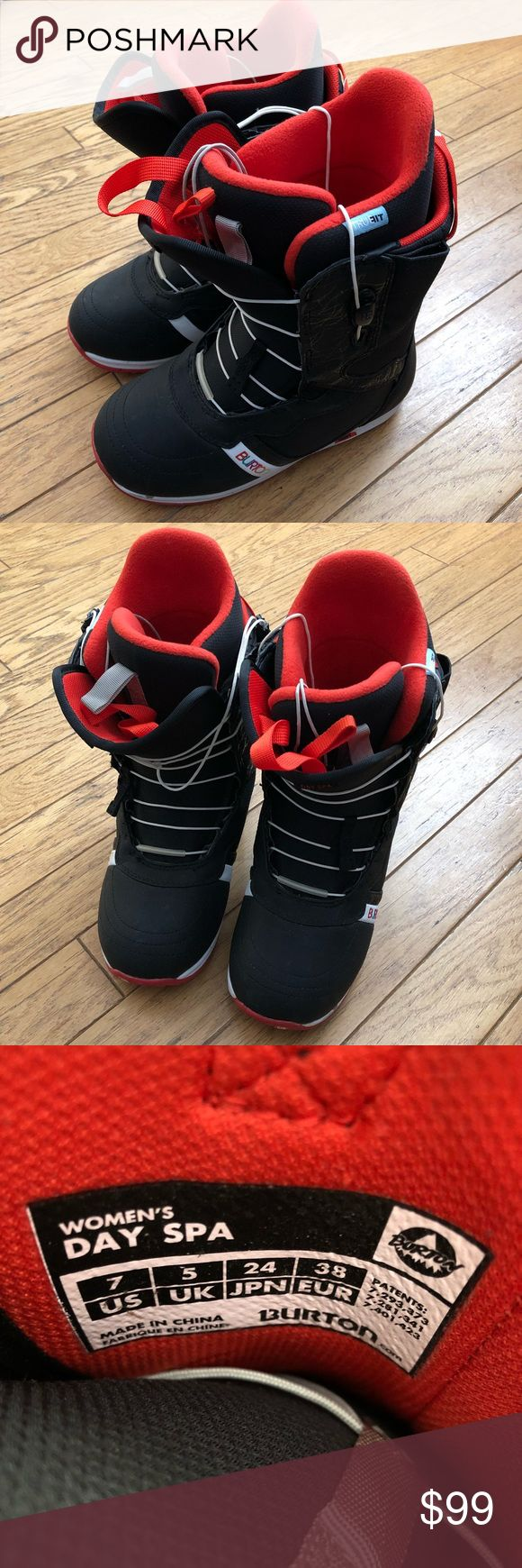 """Burton Women's Snowboarding Boots Black & Red Burton """"Spa Day"""" Style - Women's Size 7 US Excellent condition, only used twice so they're basically like new. Super comfortable and supportive boots that keep you warm and dry on the slopes. Great for any snow day.   All bundles discounted by 20% or more! Offers welcome on any of my items 🌸  Tags: ski snow snowboards snowboarding snowboots burtons sports active outdoor winter Burton Shoes Winter & Rain Boots"""