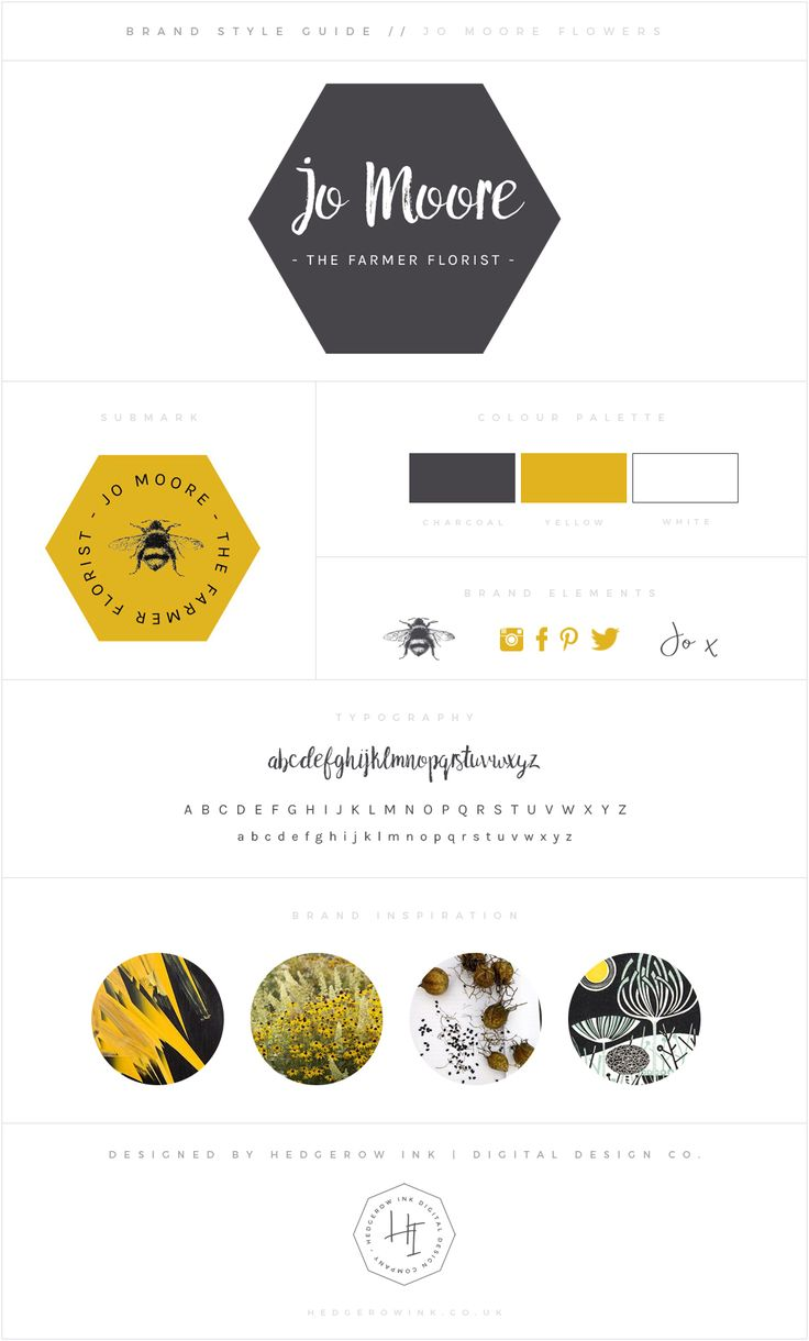 Bright grey and yellow logo and branding for a wedding florist who grows and arranges blooms. Featuring hexagons, brush lettering and bee motifs.