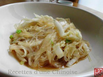 Recettes d'une Chinoise: Chou chinois sauté aux vermicelles 白菜炒粉丝 báicài chǎo fěnsī