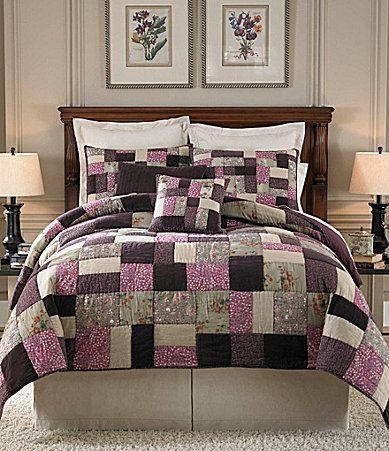 noble excellence hannah 4 piece king quilt bundle set purple calico floral paisley velvet - Niedliche Noble Schlafzimmerideen