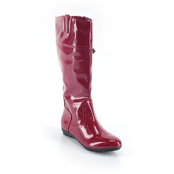 Wanted Rain Boots ($40) ❤ liked on Polyvore featuring shoes, boots, red, rain boots, red boots, wellington boots, rubber boots and wanted shoes