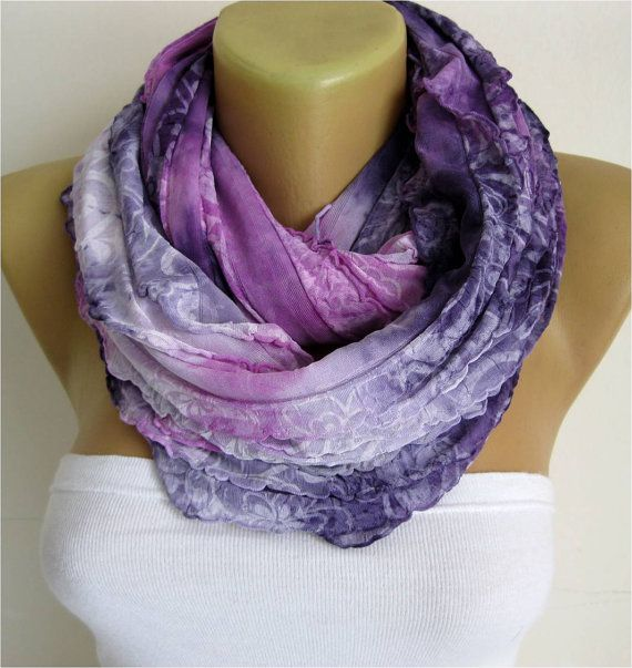 NEW-Infinity Purple Scarf Shawl Circle Scarf Loop by MebaDesign
