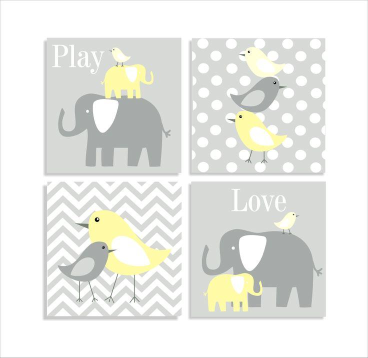 Elephants and Birds, Chevron Canvas, Children's Wall Art, Nursery Wall Art, Children's Canvas- Set of four 10x10 stretched canvas. $85.00, via Etsy.