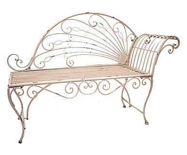 Panchina in ferro Louane bianco anticato, 110x95x45 cm