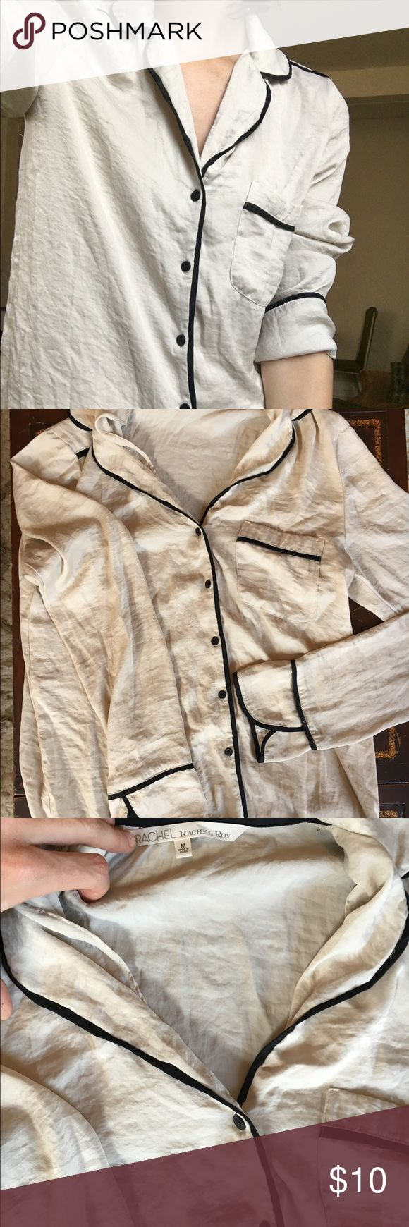 Rachel Roy Cream Colored Button Down Dress Shirt- too big on me but would look great with a blazer for a work outfit. RACHEL Rachel Roy Tops Button Down Shirts