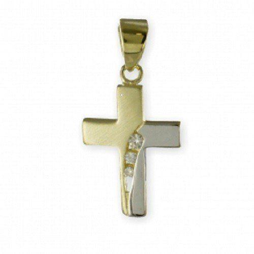 ASS 333 Gold Kommunion Konfirmation ANHÄNGER KREUZ mit 3 Zirkonia Bicolor Kreuzanhänger | Your #1 Source for Jewelry and Accessories