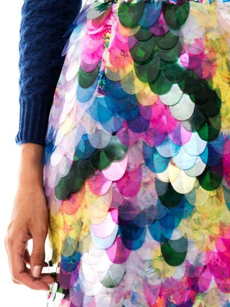 Erdem Aysha Floralprint Fish Scale Sequin Skirt in Multicolor (floral) | Lyst