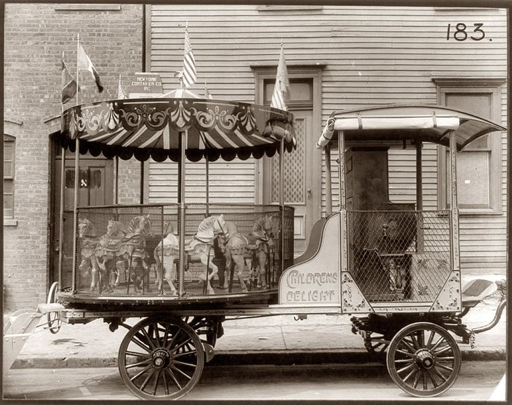 A carousel ride to go, please! Children's Delight - Brooklyn, NY circa 1910