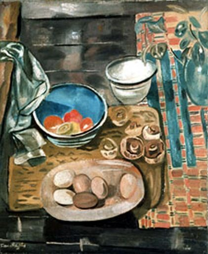 Frances Hodgkins, Still Life with Eggs and Mushrooms