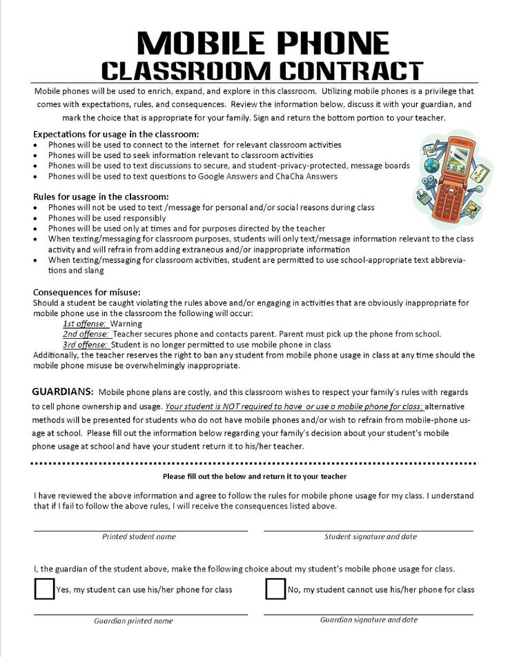 Using Mobile Phones in the Classroom: A Classroom Contract This is great! If we are going to use cell phones, lets make it clear to students what kind of cellular behavior is and is not okay for the classroom. Cell phones can be a valuable resource, but only if they are used responsibly and for educational purposes. It's important that everyone is on the same page, and I think this contract does the trick nicely!