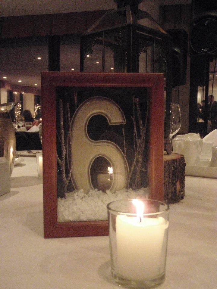 Winter table numbers for wedding