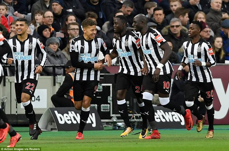 Saivet celebrates with his Newcastle team-mates after quickly erasing West Ham's early lead at the London Stadium